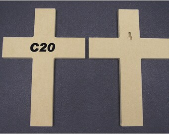 "5 6"" x 9"" Unfinished Wooden Crosses, Choose from 8 different styles, Ready to Paint, w/key holes. 4-13B A"
