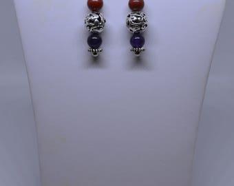 Red Jasper & Amethyst Earrings