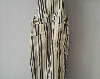90s dungarees true vintage Kids 98 blue white striped spring summer kids trousers
