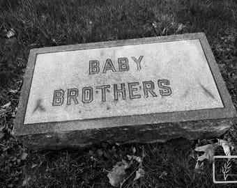B&W #Photograph, #halloween, #headstone, wall art, home decor, photo print, fine art, cemetery, creepy, grave, Indianapolis, Indiana