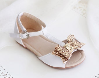 WHITE Satin T-strap Flats with Rock Glitter Bow - for flower girls, toddler girls shoes