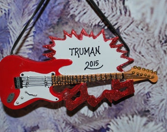 Personalized Electric Guitar Christmas Ornament