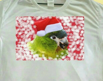 Christmas Parrot Santa Hahn's Macaw Polyester White T-shirt Tee