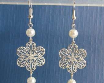 Pearl and Silver Filigree Pierced or Clip On Earrings