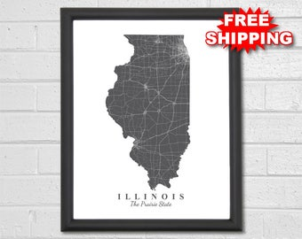 Illinois Map Art - Map Print - State Map - Travel Gift - Map Art - City Map - Modern - Custom Map - Map of Illinois - Chicago Springfield
