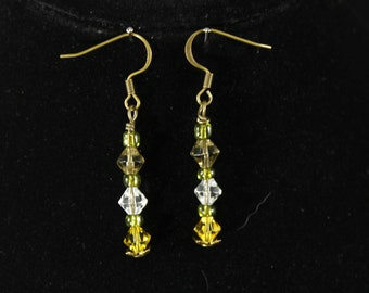 Earrings , Antique brass w/6 , 6mm swarouvski crystals