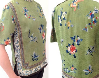 1920s Chinese embroidered blouse top green silk vintage antique