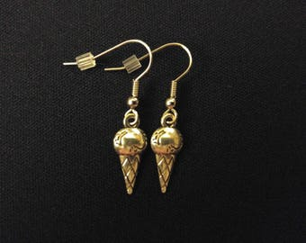ICE CREAM CONE Charm Earrings Stainless Steel Ear Wire Silver Metal Unique Gift