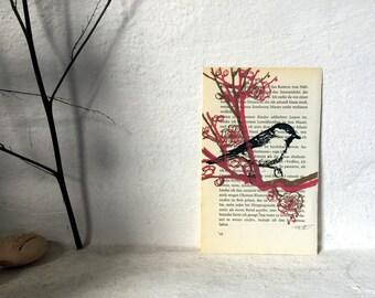 Im Pflaumenblütenzweig - Original Linoldruck auf Buchseite // Kunst, Print, Bild mit Vogel, Druckgrafik, Blütenzweig