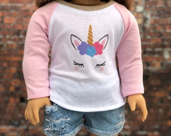 American Made Doll Clothes | Light Pink Unicorn Graphic Long Sleeve BASEBALL TEE for 18 Inch Doll