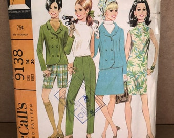 """60s Vintage McCall's 9138 Printed Sewing Pattern - Misses' & Juniors Dress, Blouse, Skirt, Jacket, Pants or Shorts, Size 14, Bust 36"""""""