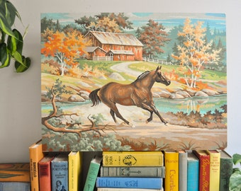 Vintage Large Running Horse Paint by Number Painting