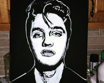Elvis Presley 16x20 acrylic on canvas original art black and white