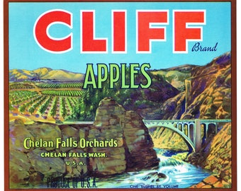 Original vintage apple crate label 1950s Cliff Chelan Falls Washington State Bridge over Gorge