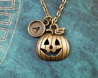 Jack O Lantern Necklace SMALL Bronze Jack-o-Lantern Necklace Brass Pumpkin Necklace Pumpkin Jewelry Halloween Necklace Halloween Jewelry