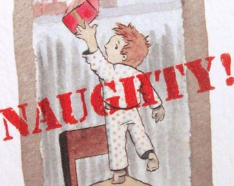 Naughty or Nice Holiday Greeting Card -  Set of 5 Blank Cards
