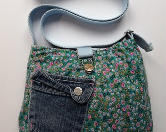 Small recycled bag - Reversible - shoulder bag - Original practice - washable - gift - girl.