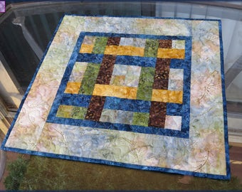 Quilted Table Topper, Table Decor, Kitchen Decor, Earthy Batiks Blue Brown Green Yellow 707