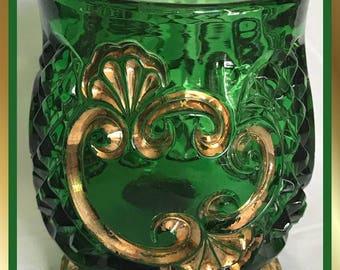 EAPG Victorian Period Green / Gold Spooner Croesus Pattern