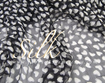 Black Chiffon Silk Heart fabric by the yard