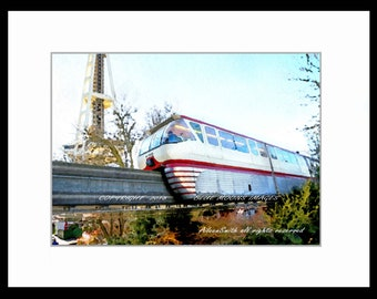 Seattle Center Space Needle Monorail Watercolor Effect Giclee Art Print