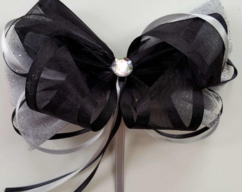 Hairbow/ Sparkly Black and Silver/Gray/Platinum Princess Hair Bow Clip/Headband