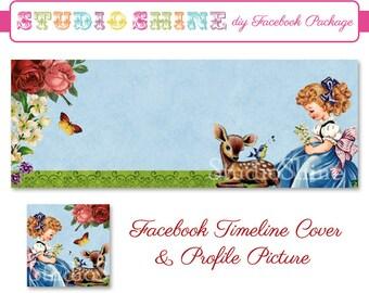 DIY Facebook Cover Package - Facebook Timeline Cover and Profile Picture - Woodland Darling - Brunette - Digital Instant Download