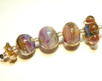 Coordinating Set of Five (5) Lampwork Borosilicate Beads: Pinks, Blues, Apricot -- Lot 4C