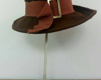 Vintage 60s/70s fedora hat chocolate brown wool grosgrain large brim ribbon hat gold buckle Irish hat by Calvert