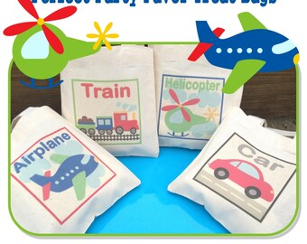 Transportation Plane Car Helicopter Train Birthday Party Treat Favor Gift Bags Mini Cotton Totes Children Kids - Set of 4
