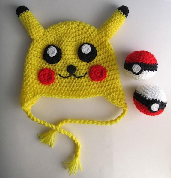 Pikachu Hat Crochet Pattern / Pokemon Knit Hat Pattern / 18