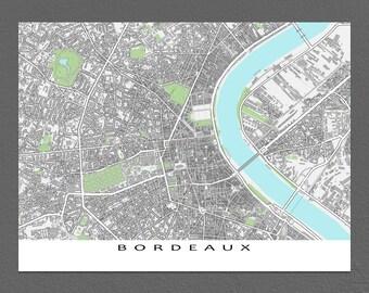 Bordeaux Map Print, Bordeaux France, European City Map Art