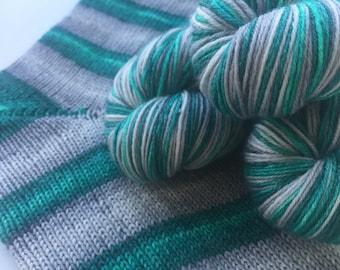 Hand dyed self striping merino bamboo sock yarn - Winter Sea