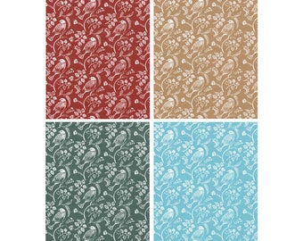 "Wrapping Paper Sheet: Bird Print Gift Wrap Sheet // Love Birds Print // Red, Brown, Green & Blue Options (70cm x 50cm / 19.5"" x 27.5"")"