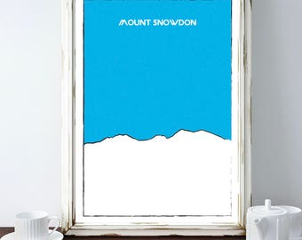 Mount Snowdon Mountain Print, Mt. Snowdon Mountain Poster, Hiking Gift, Wall Art, Home Decor, Minimalist Print, UK, Wales, Climbing Poster