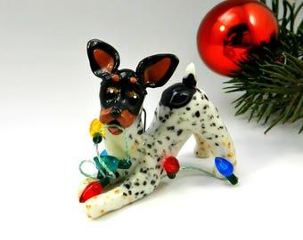Toy Fox Terrier Rat Terrier Christmas Ornament Figurine Lights Porcelain