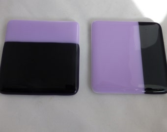 Fused Glass Coasters with Lavender and Dark Violet - set of 2