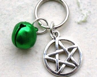 Pet Collar Charms with Pentagram & Green Bell for Cat or Dog Witches Pentacle New LB21