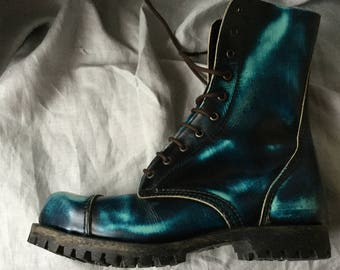 EU 44 Black and blue Shelly's 10 hole Ranger boots in UK 10 + steel toes  -mid calf boots!