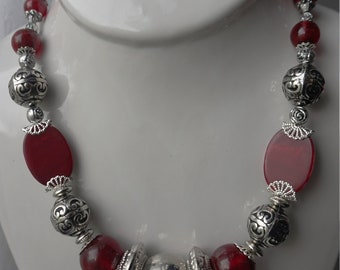 Cranberry Red and Silver Necklace Set