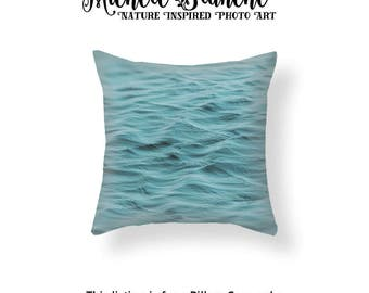 Ocean Water Photo Pillow, Water Ripple Toss Pillow, Sea Foam Waves Throw Pillow, Water Pillow Case, Sea Water Pillow, Aqua Blue Throw Pillow