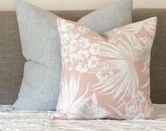 Blush and grey tropical print cushion cover, blush pillow, tropical cushion, blush pillow, grey linen cushion, botanical print pillow, pink