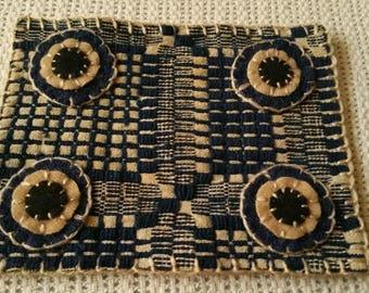 Primitive Folkart 1800s Overshot Blue Coverlett Penny Mat Beaconhillcollect Collectibles