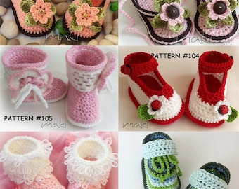 CROCHET PATTERN  - All my booties-boots designs in one place. Instant download!! Crochet patterns  with lots of color combination ideas!