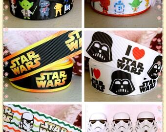 3 yards Star Wars grosgrain ribbon, Star Wars Stormtrooper ribbon, Star Wars inspired printed ribbon, I Love Star Wars ribbon, Star Wars