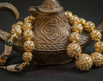 Fine CZ Elite Royal Neckpeice handmade Meenakari Beads Necklace Indian Bollywood Jewellry