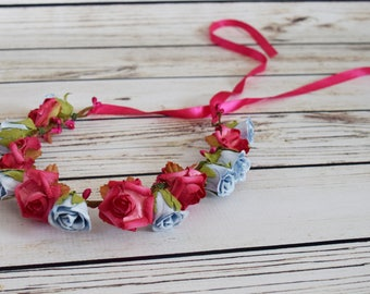 Handcrafted Pastel Blue and Hot Pink Rose Flower Crown - Adult Flower Halo - Wedding Hair Wreath - Rose Wedding Crown - Hot Pink Flower Girl