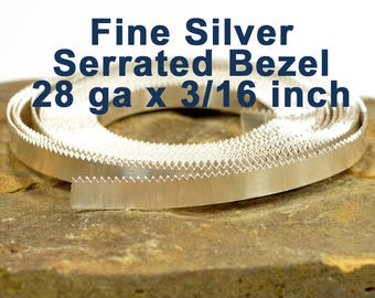 "28ga x 3/16"" Serrated Bezel - Fine Silver - Choose Your Length"