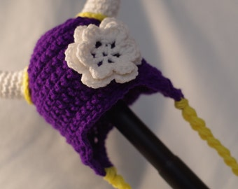 Viking Earflap Hat - (specify size - available with or without the flower) **CUSTOM ORDER**