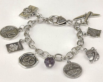 Personalized Travel Bracelet with Your Initial, Zodiac and Birthstone